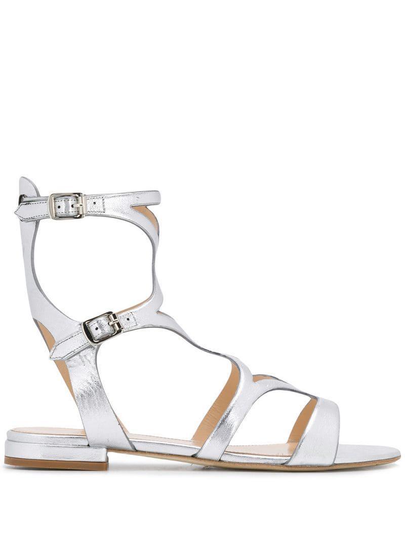 32c817870e1b Lyst - The Seller Flat Metallic Sandals in Metallic