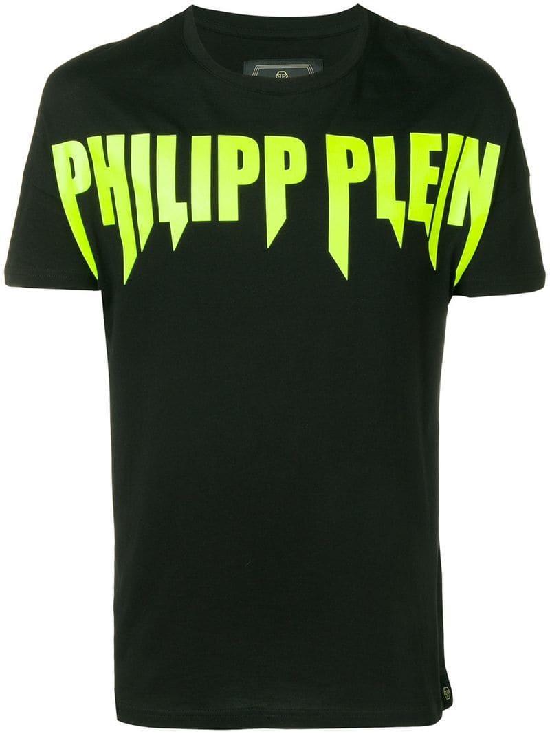 Lyst Philipp Plein Gold Cut Logo Print T Shirt In Black For Men