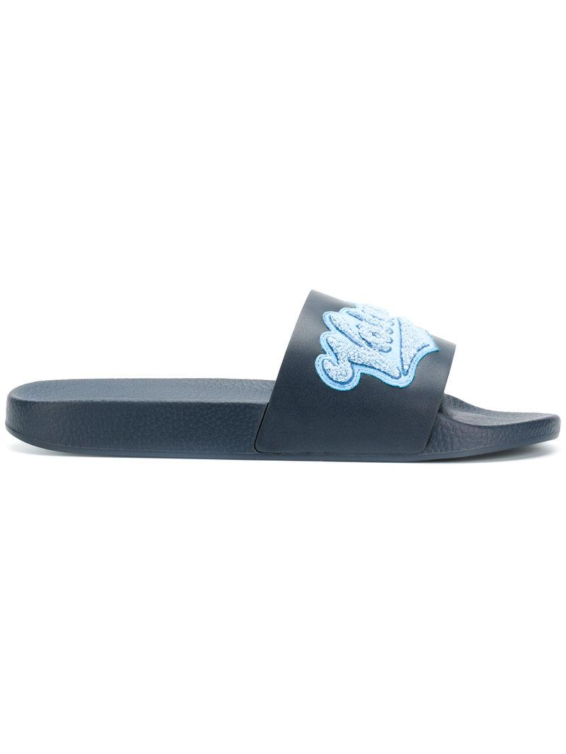 95c42e82002 Valentino Garavani Appliqué Slides in Blue for Men - Save ...