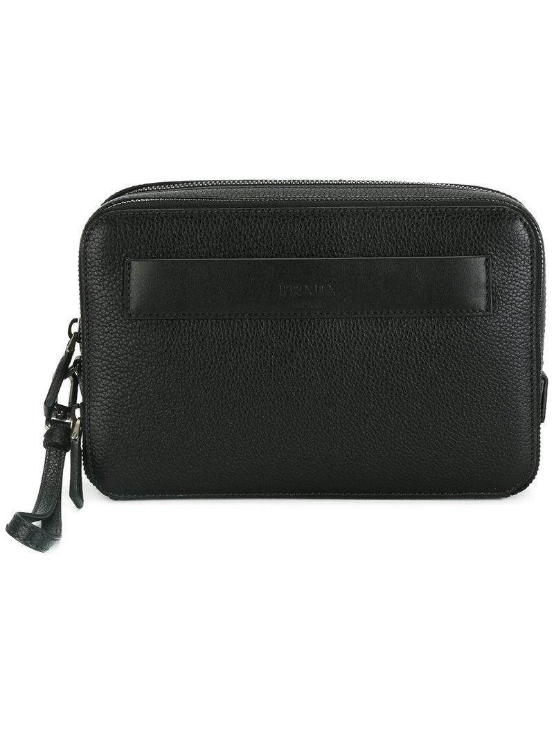 9ab6ddc6e290 Lyst - Prada - Hand-strap Clutch - Men - Calf Leather - One Size in ...