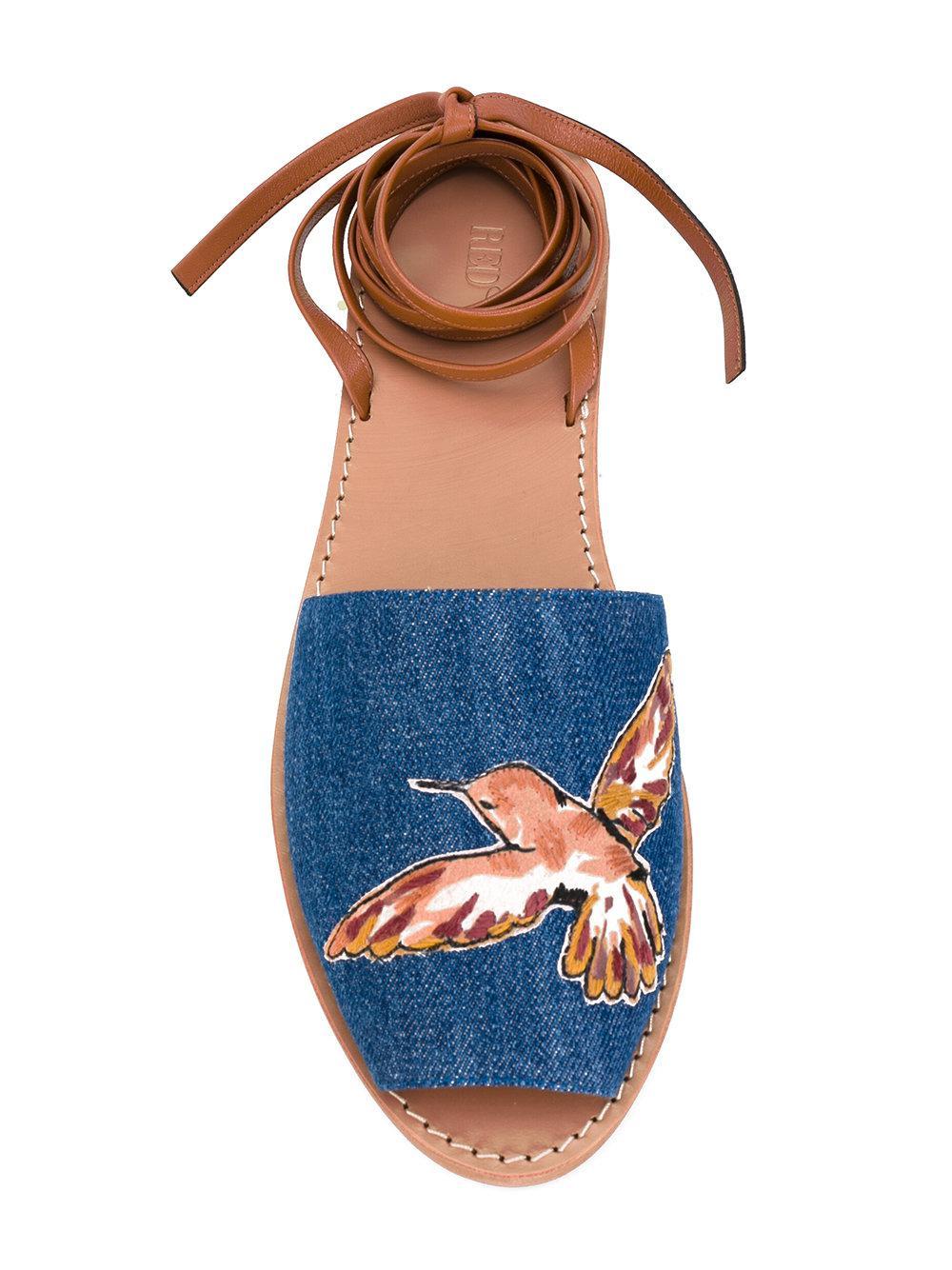 Sandales Rouges De Contraste Valentino - Bleu vaPuFWXn