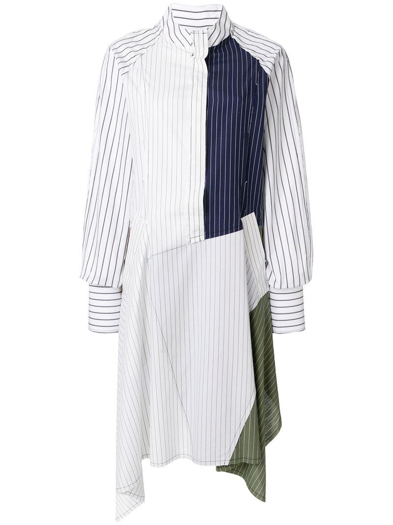 lyst j w anderson patchwork shirt dress in white