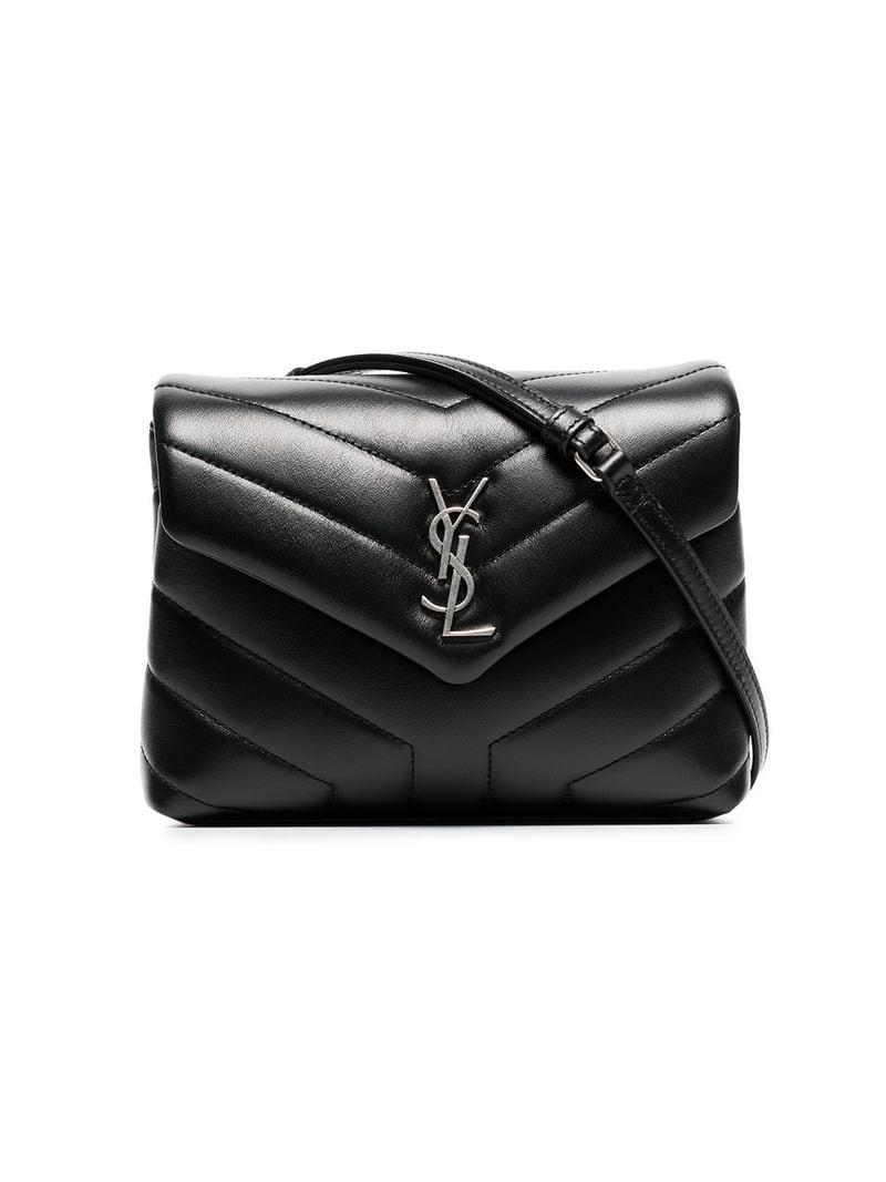 2d6aa33ff0c0 Lyst - Saint Laurent Black Monogram Detail Quilted Leather Bag in Black