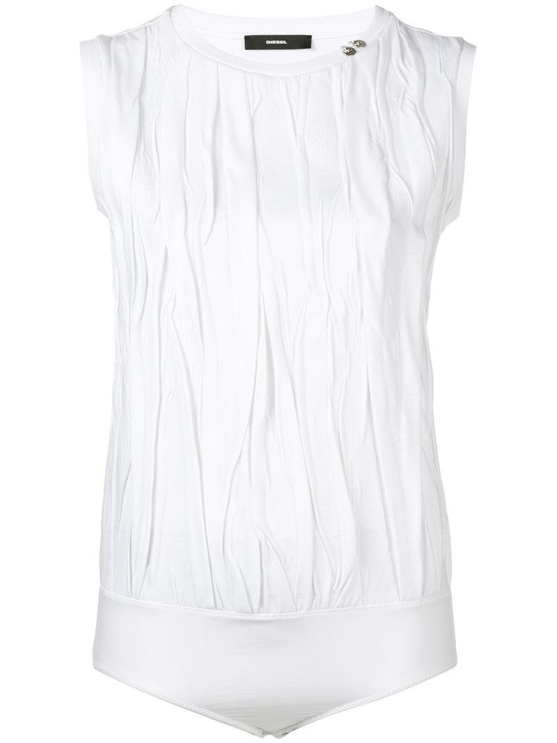 Lyst Diesel Engineered Crinkle T Shirt Bodysuit In White