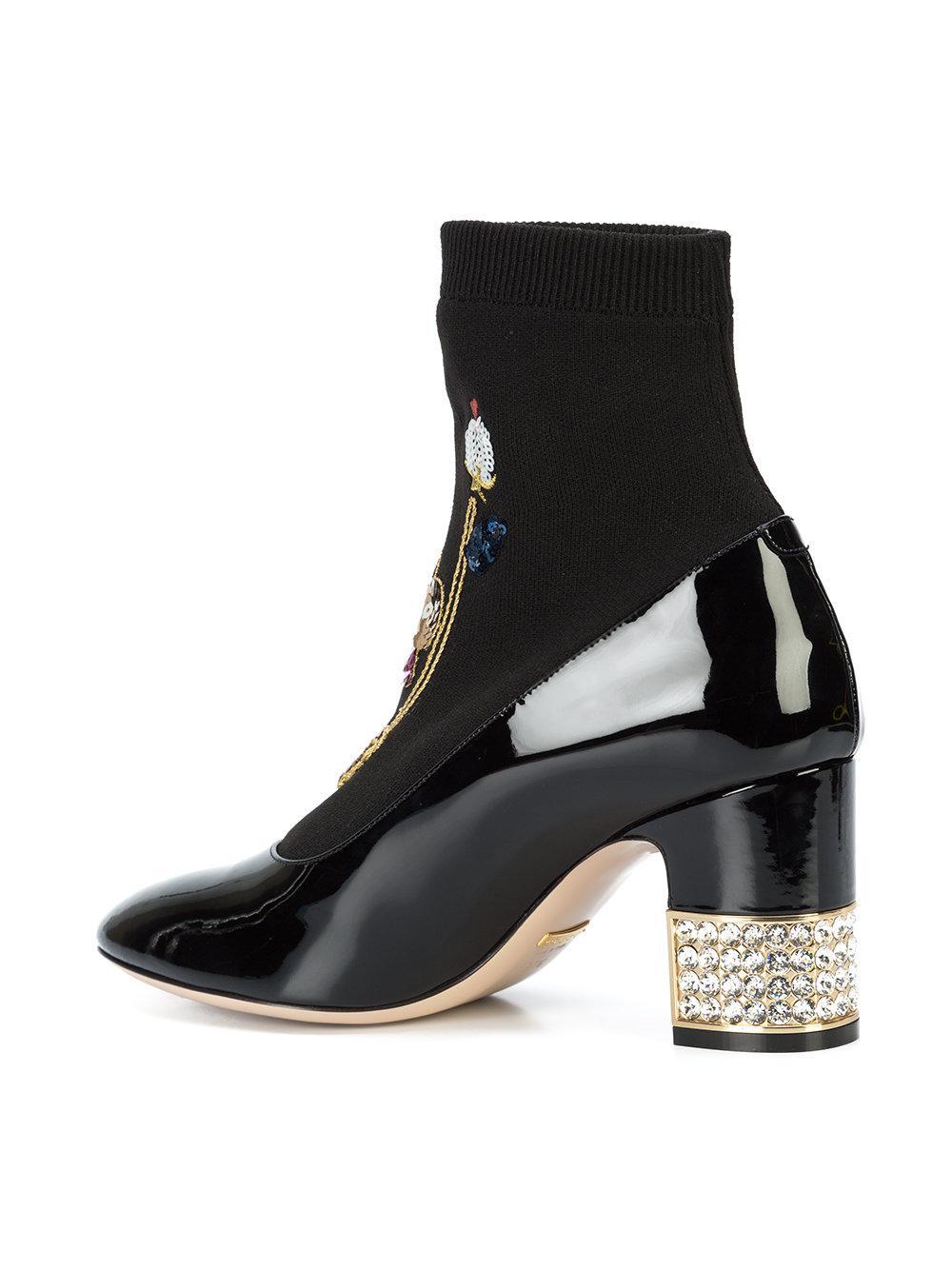 632dc1fe8 Lyst - Botines Candy bordados Gucci de color Negro