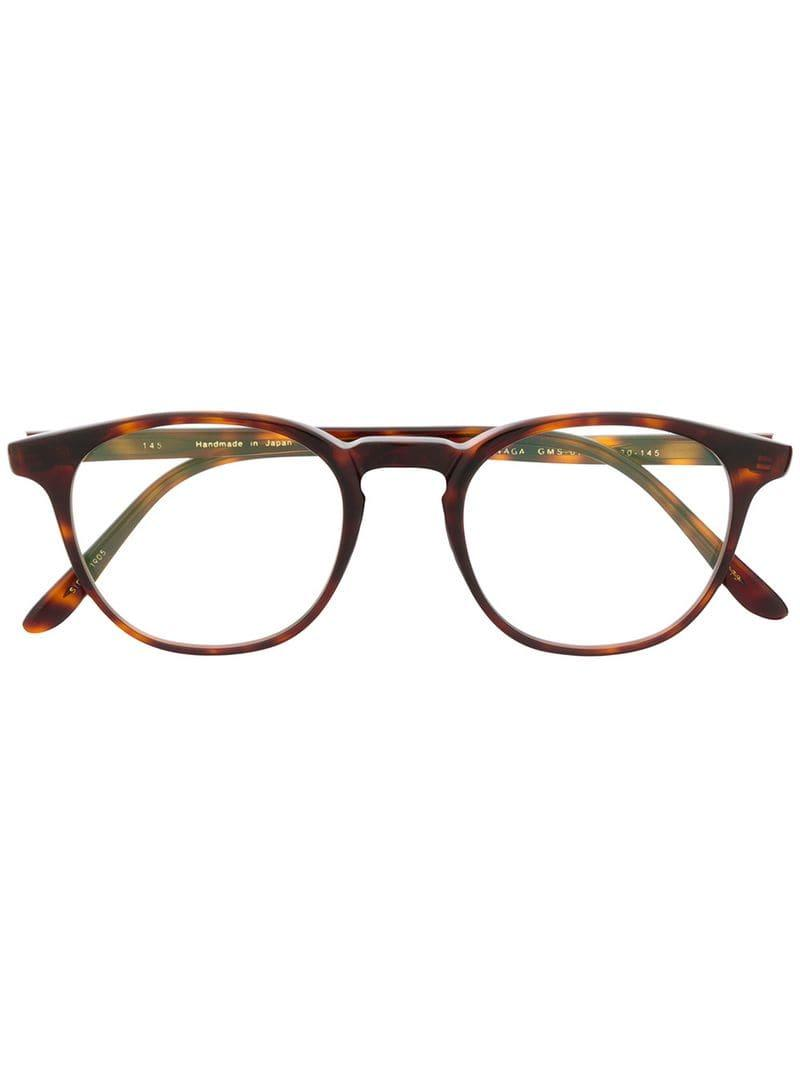 789ba9ac259 Masunaga Round Frame Glasses in Brown - Lyst