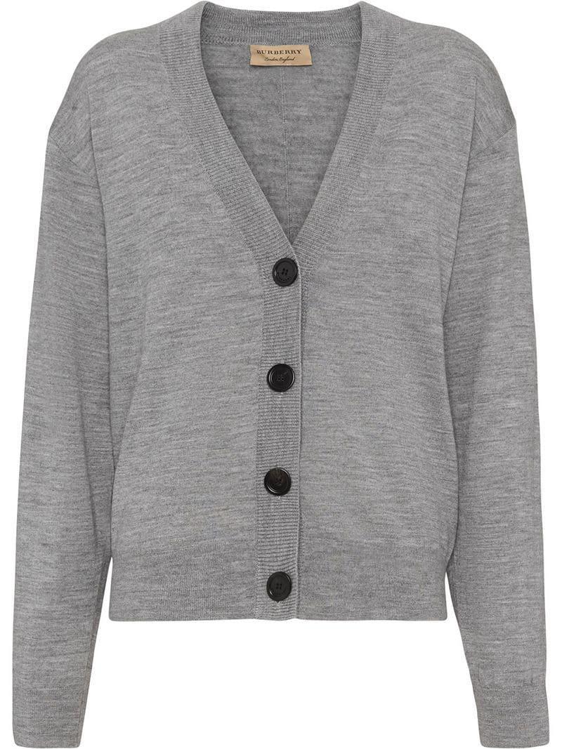 f51bd7389b9e Burberry Logo Intarsia Merino Wool Cardigan in Gray - Lyst