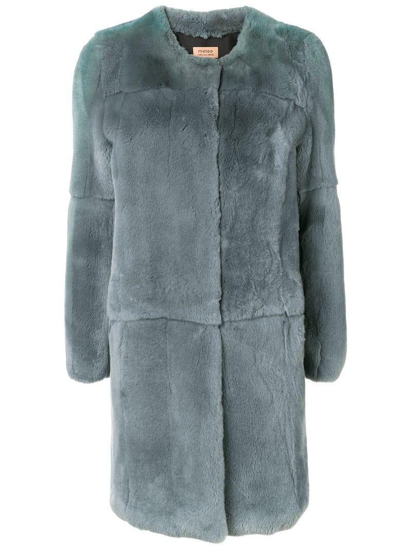 Coat By Lyst Salomon Fur Blue In Yves M Meteo qvzX4Fpww