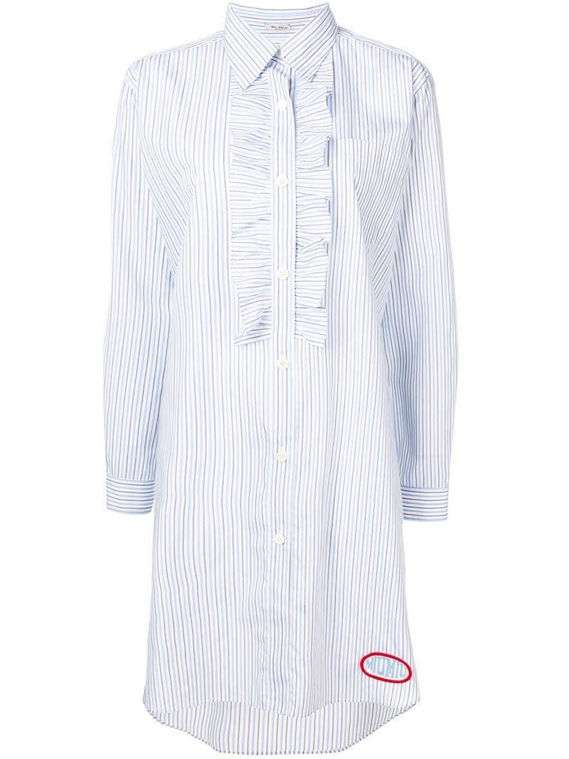 0749512c2114 Lyst - Miu Miu Stripped Ruffled Shirt Dress in Blue