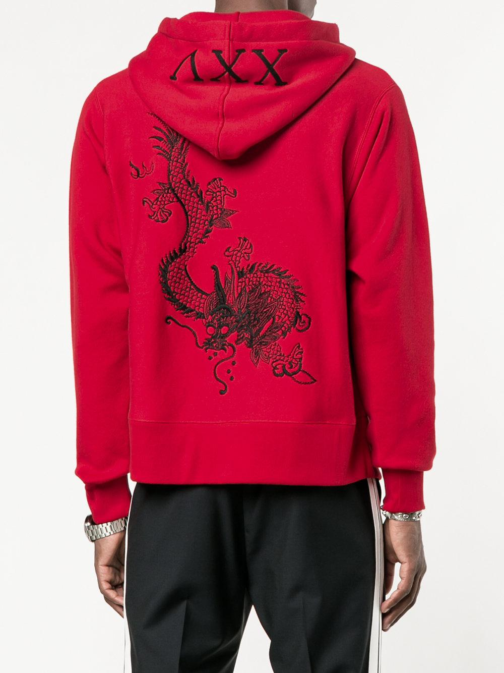 beeb627c0d7 Lyst - Gucci Embroidered Dragon Hoodie in Red for Men