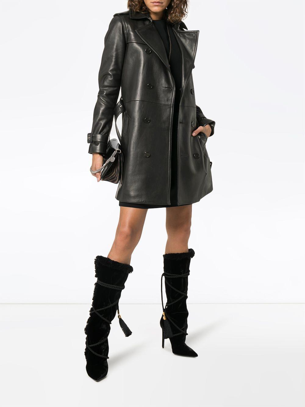 0e534ae7f3a Saint Laurent Double Breasted Trench Coat in Black - Lyst