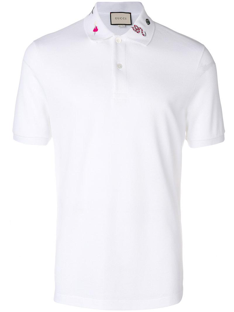 fcb577a9eb81 Gucci Embroidered Polo Shirt in White for Men - Lyst