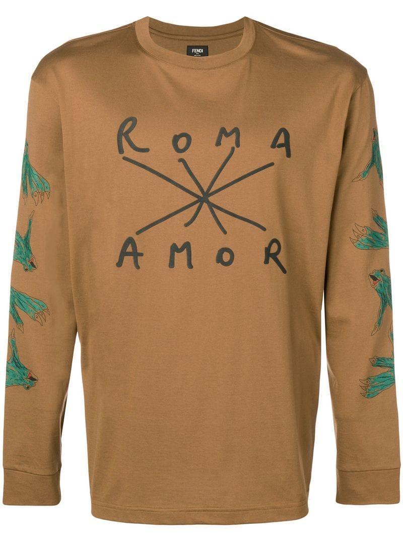 77924f7606675 Fendi Long-sleeve Printed T-shirt in Brown for Men - Lyst