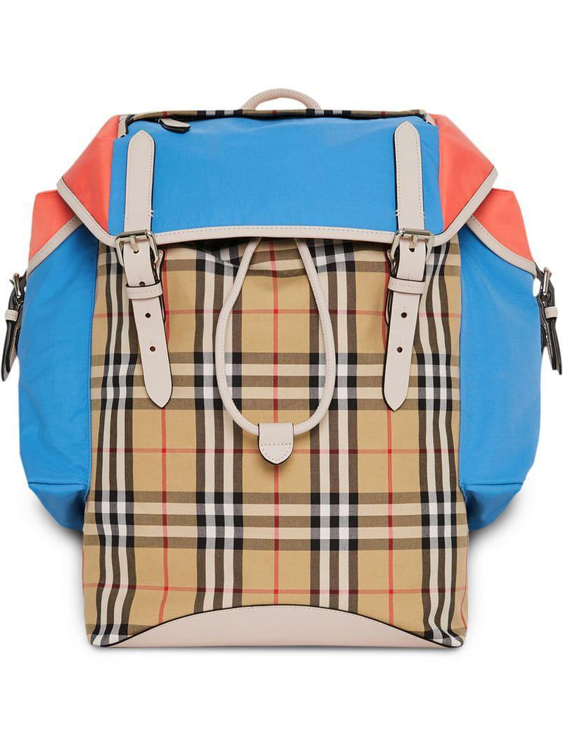 63cc94d75612 Lyst - Burberry Check Panel Ranger Backpack in Yellow for Men