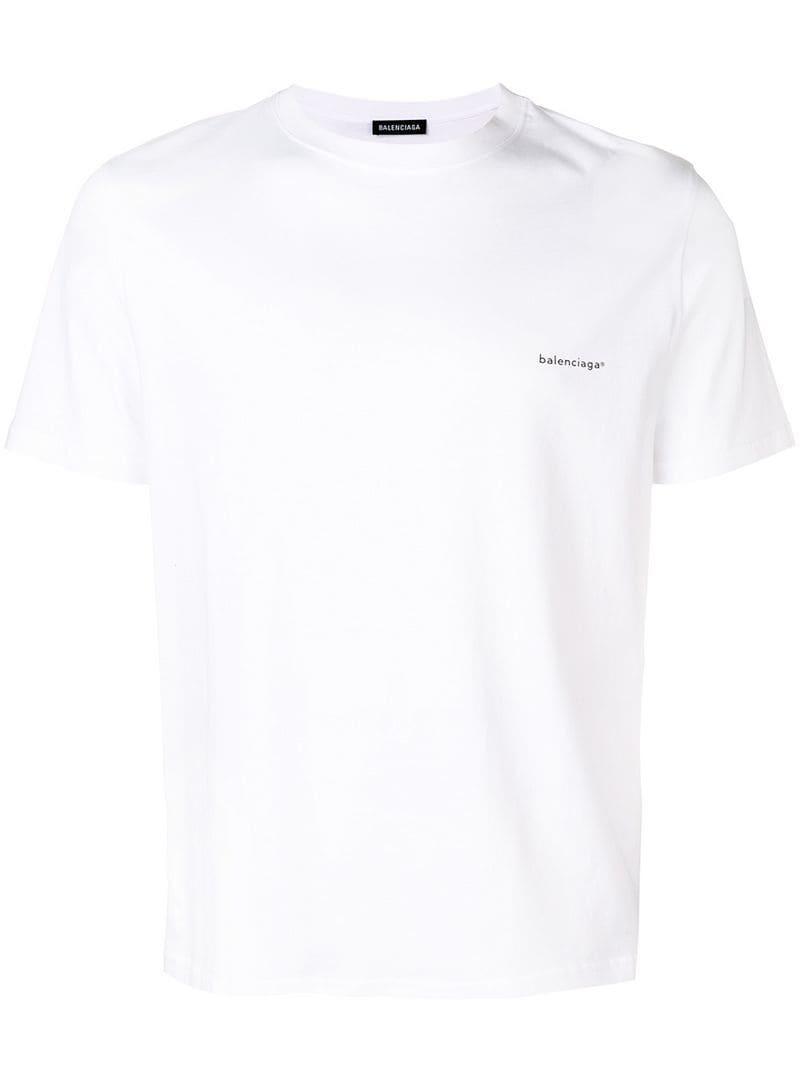 fb83b2bd8f00 Balenciaga - White Logo Print T-shirt for Men - Lyst. View fullscreen