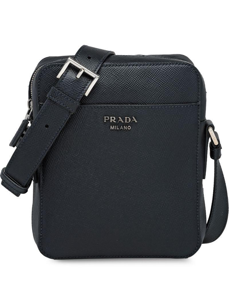 Prada Saffiano Leather Shoulder Bag in Black for Men - Lyst 551df4bf364e7