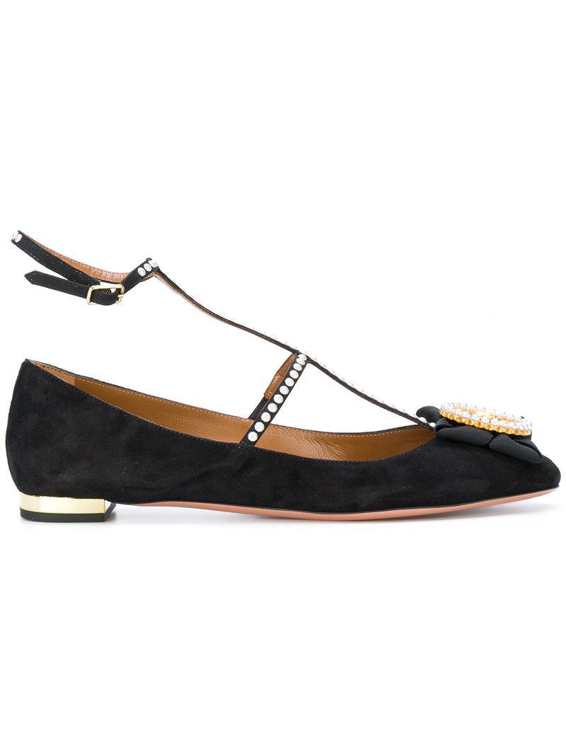 embellished Cameo ballerina shoes - Black Aquazzura Sas3BT9