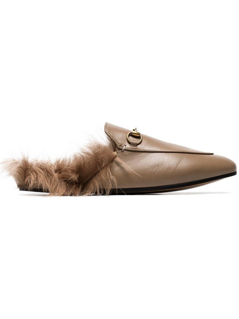 a020a18b8 Gucci. Women's Brown Beige Princetown Flat Leather And Shearling Slippers