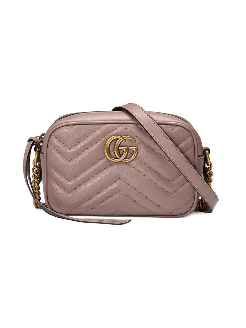 5df7b99b92b Lyst - Gucci GG Marmont Matelassé Mini Bag in Pink