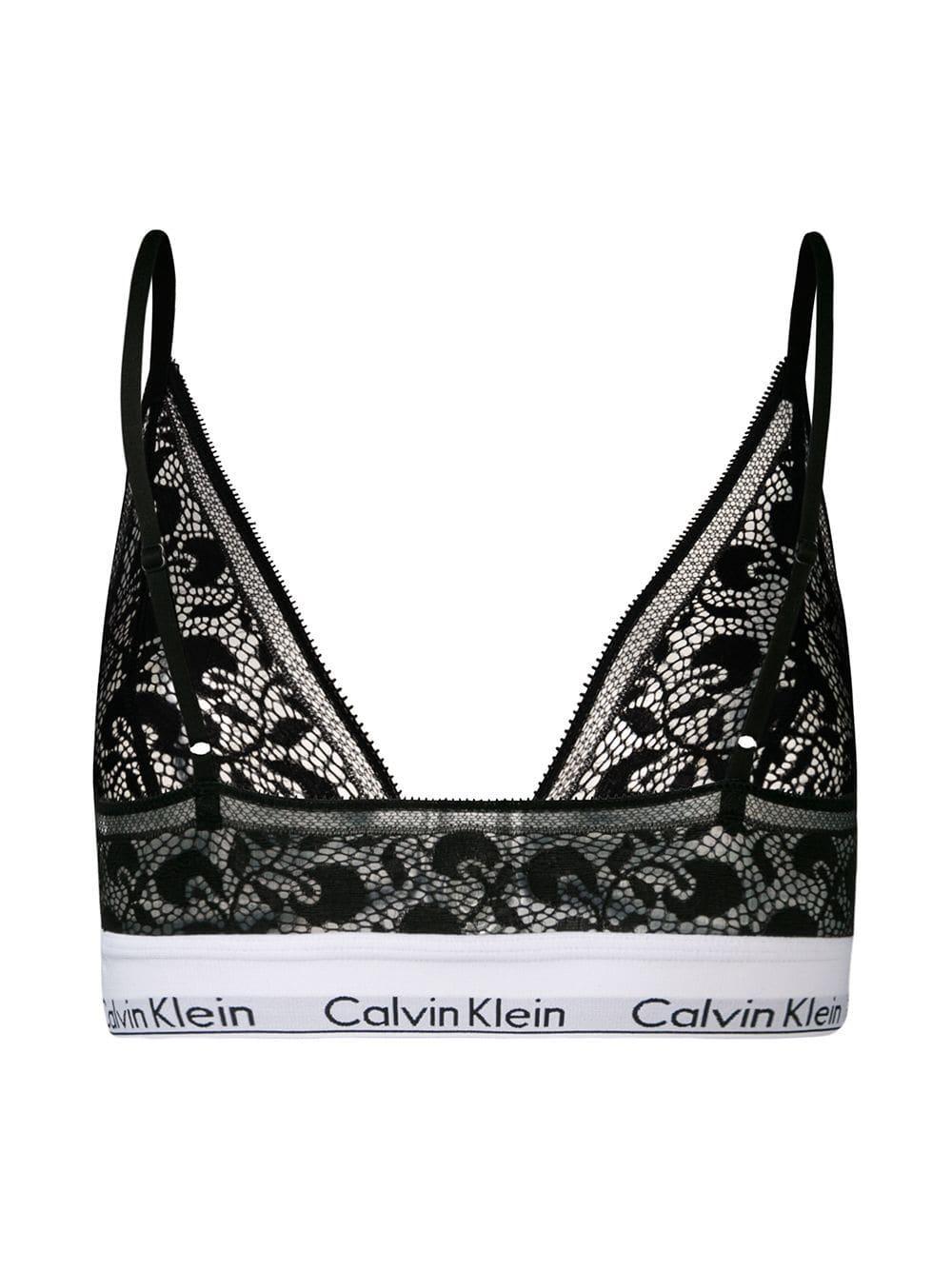 bd1e292e49e0d Lyst - Calvin Klein Lace Triangle Bra in Black