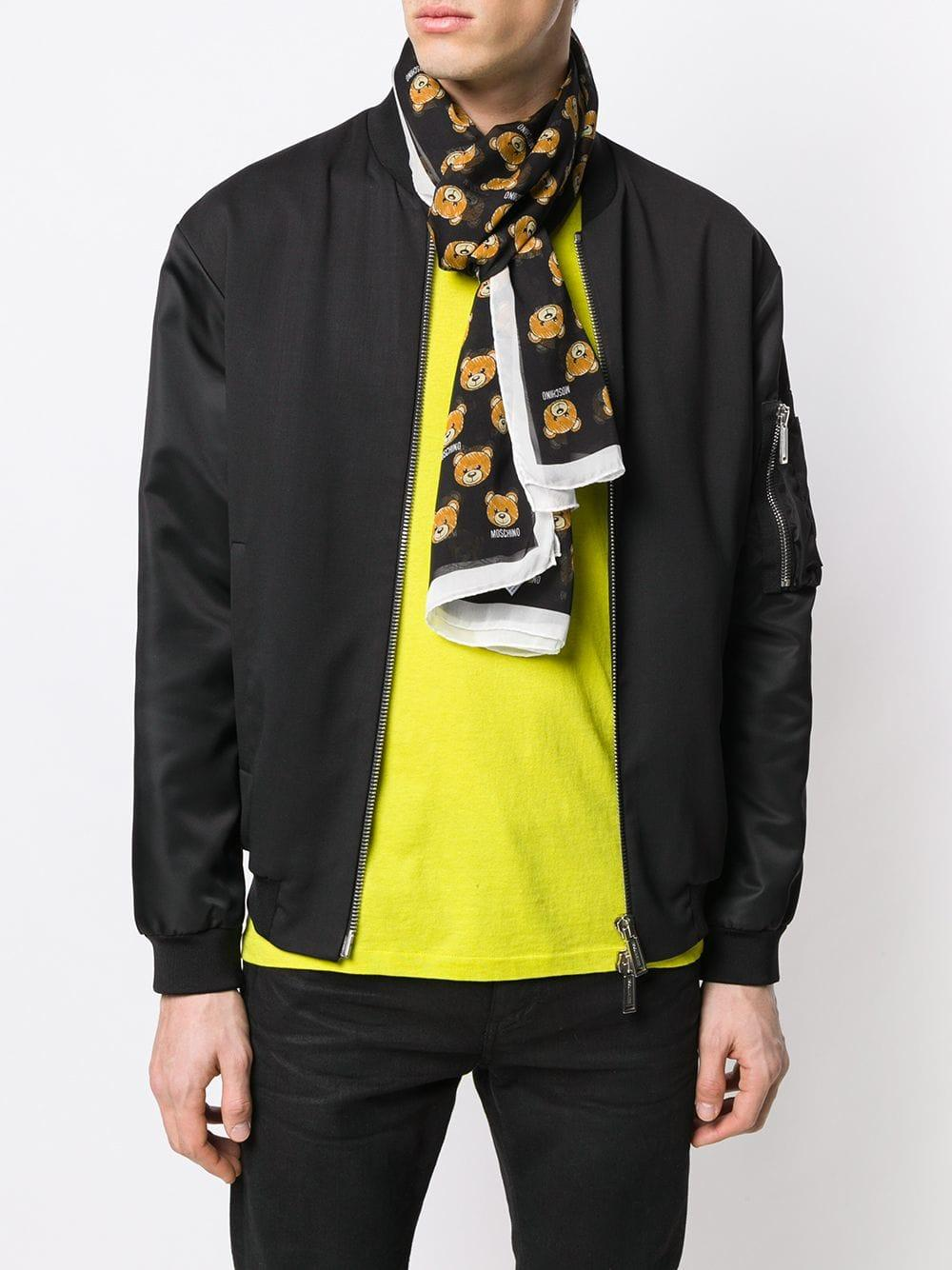 64d1d9a0 Lyst - Moschino Printed Teddy Bear Scarf in Black for Men