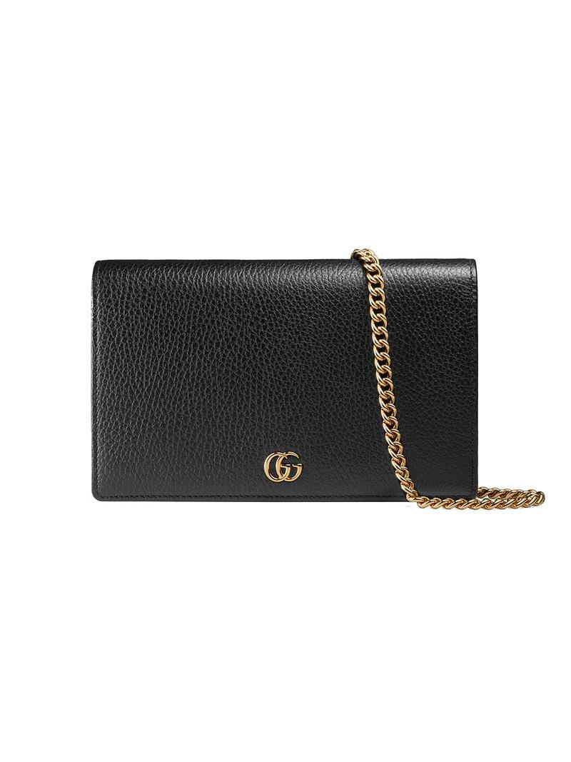 efbe01cdfaab Gucci GG Marmont Leather Mini Chain Bag in Black - Lyst