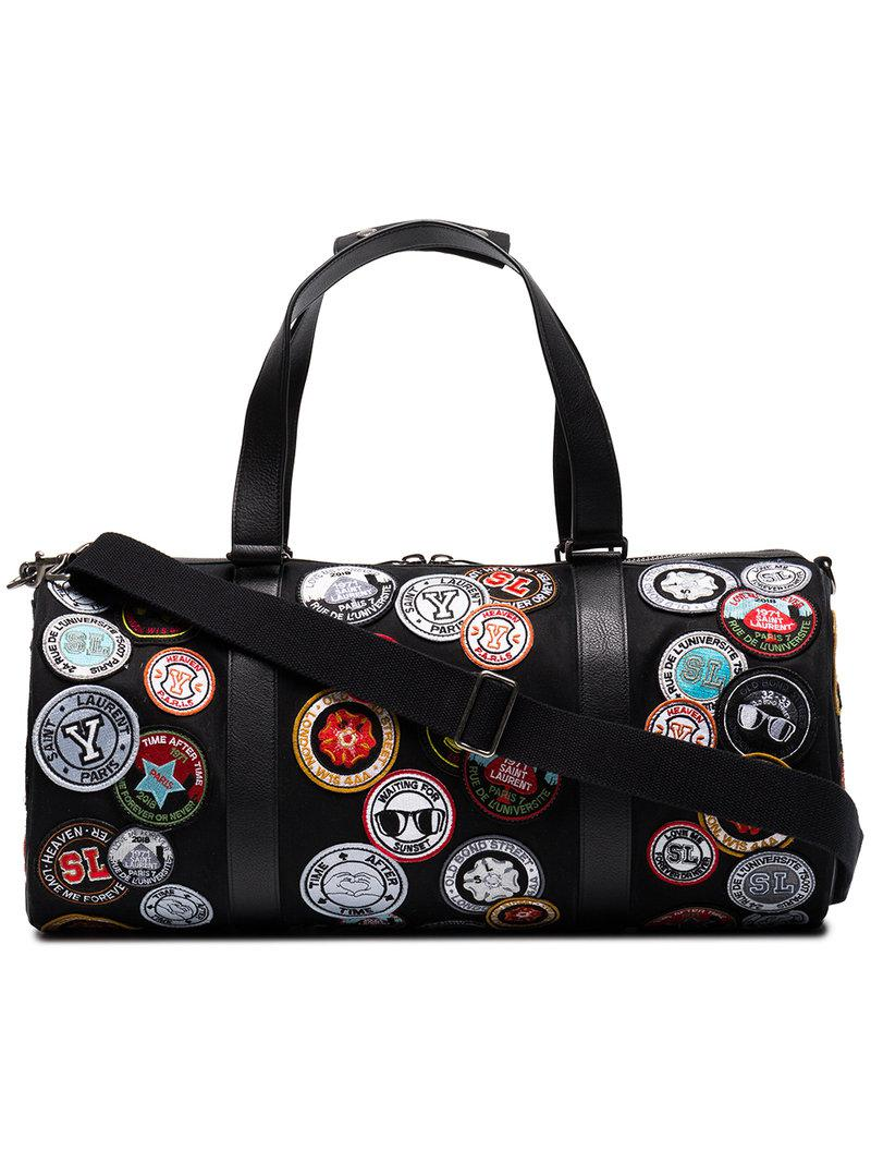 bfb38961cb32 Lyst - Saint Laurent Noe Multi Patch Duffle Bag in Black for Men ...
