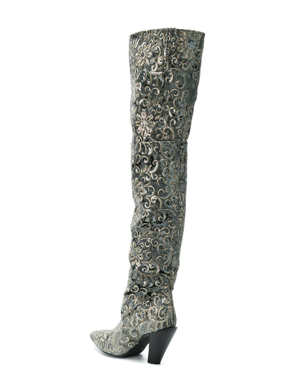 A.F.Vandevorst Contrast Thigh-high Boots in Green - Lyst ef47fc5317f