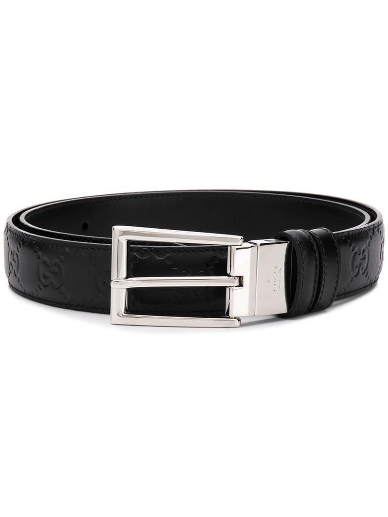 Lyst - Cinturón de cuero con detalle GG Gucci de hombre de color Negro ebaa5300988