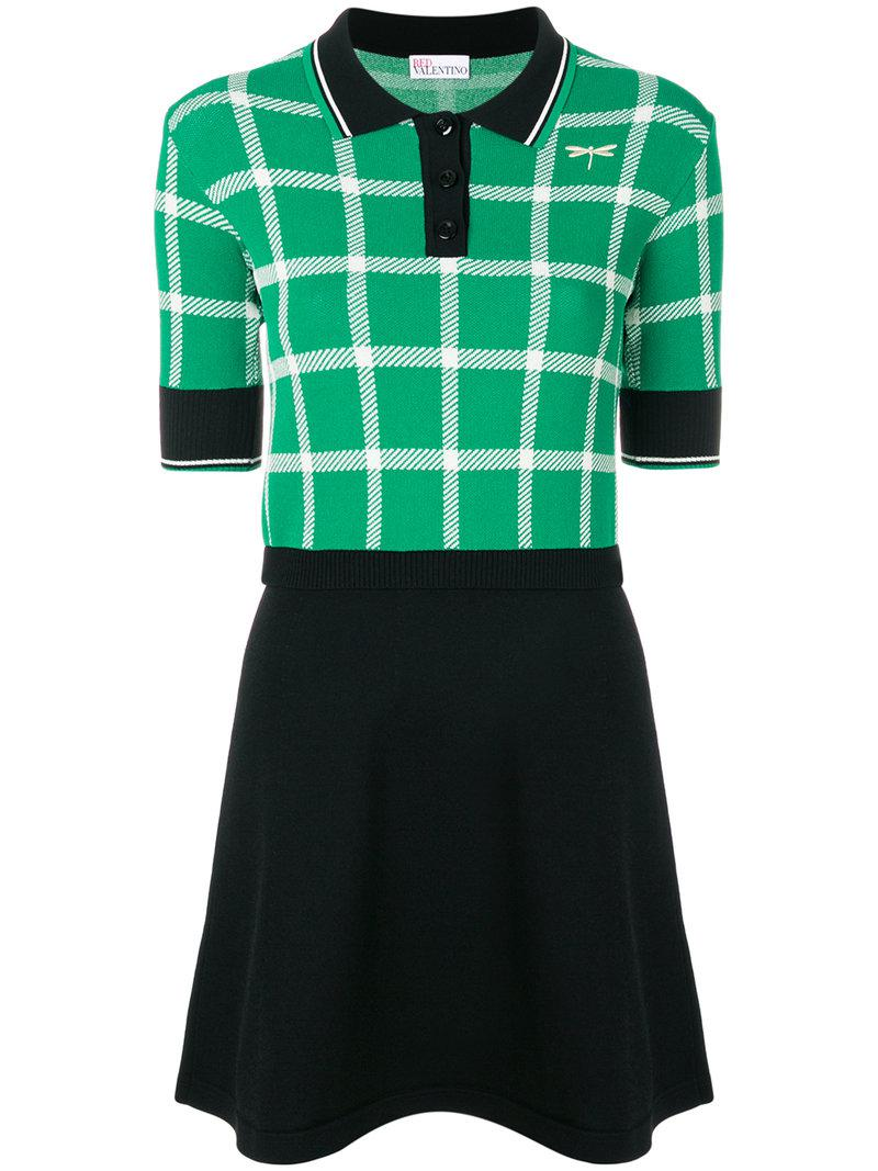 Lyst red valentino checked polo shirt dress in green for Red and green checked shirt