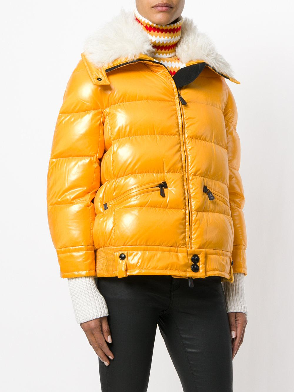 4dd4a48d9d5a Moncler Grenoble Lamb Fur Collar Puffer Jacket in Yellow - Lyst