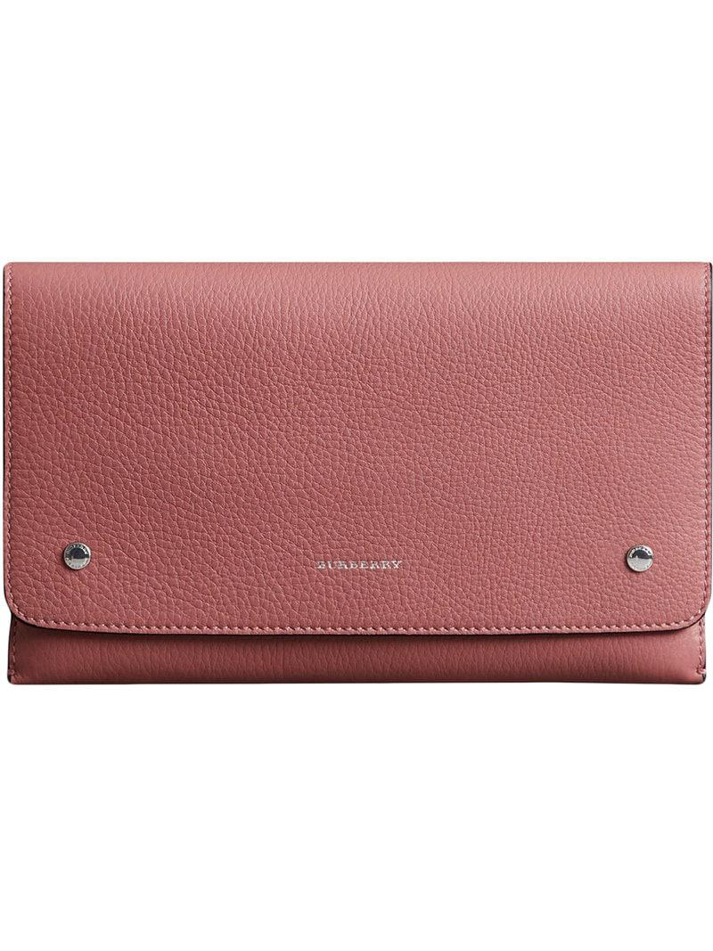 Lyst - Burberry Two-tone Leather Wristlet Clutch in Pink 9e786ca096f5c