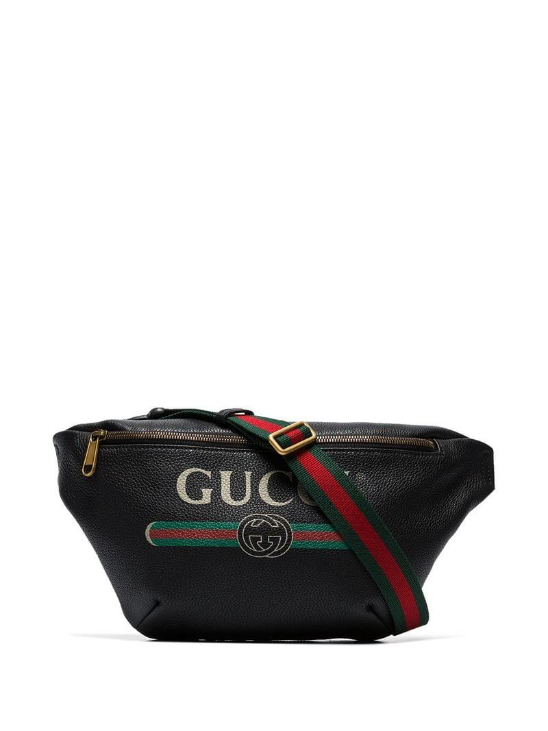 d9f4447f3 Gucci Black Logo Print Leather Cross Body Bag in Black for Men - Lyst