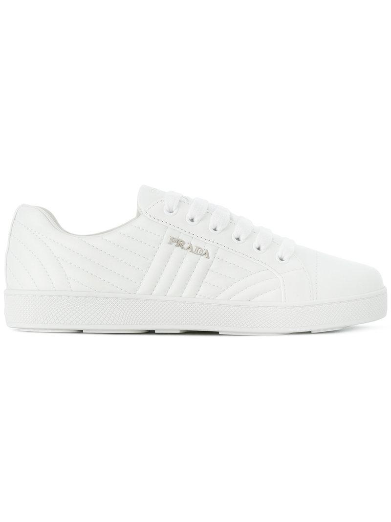 63ce0a720c8c ... wholesale prada quilted low top sneakers in white lyst 5e060 02f19