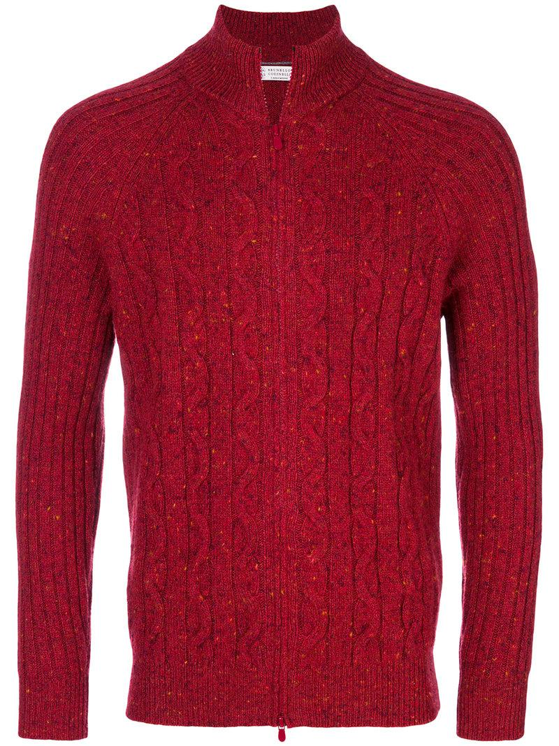 Brunello cucinelli Cable Knit Full Zip Cardigan in Red for Men | Lyst