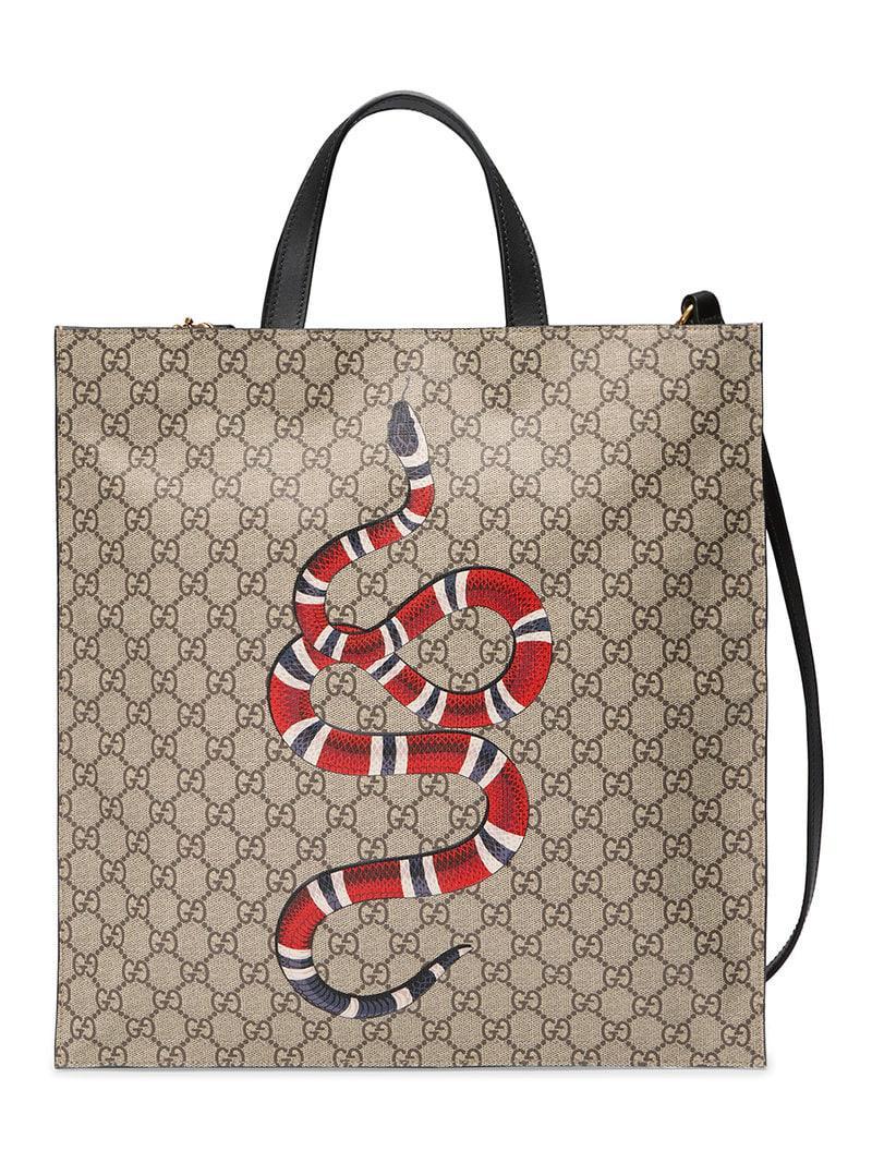63b3c781375a Gucci. Women's Kingsnake Print Soft GG Supreme Tote