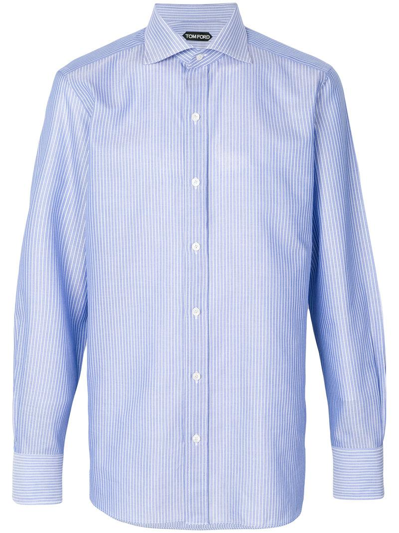 Lyst tom ford striped shirt in blue for men for Blue striped shirt mens
