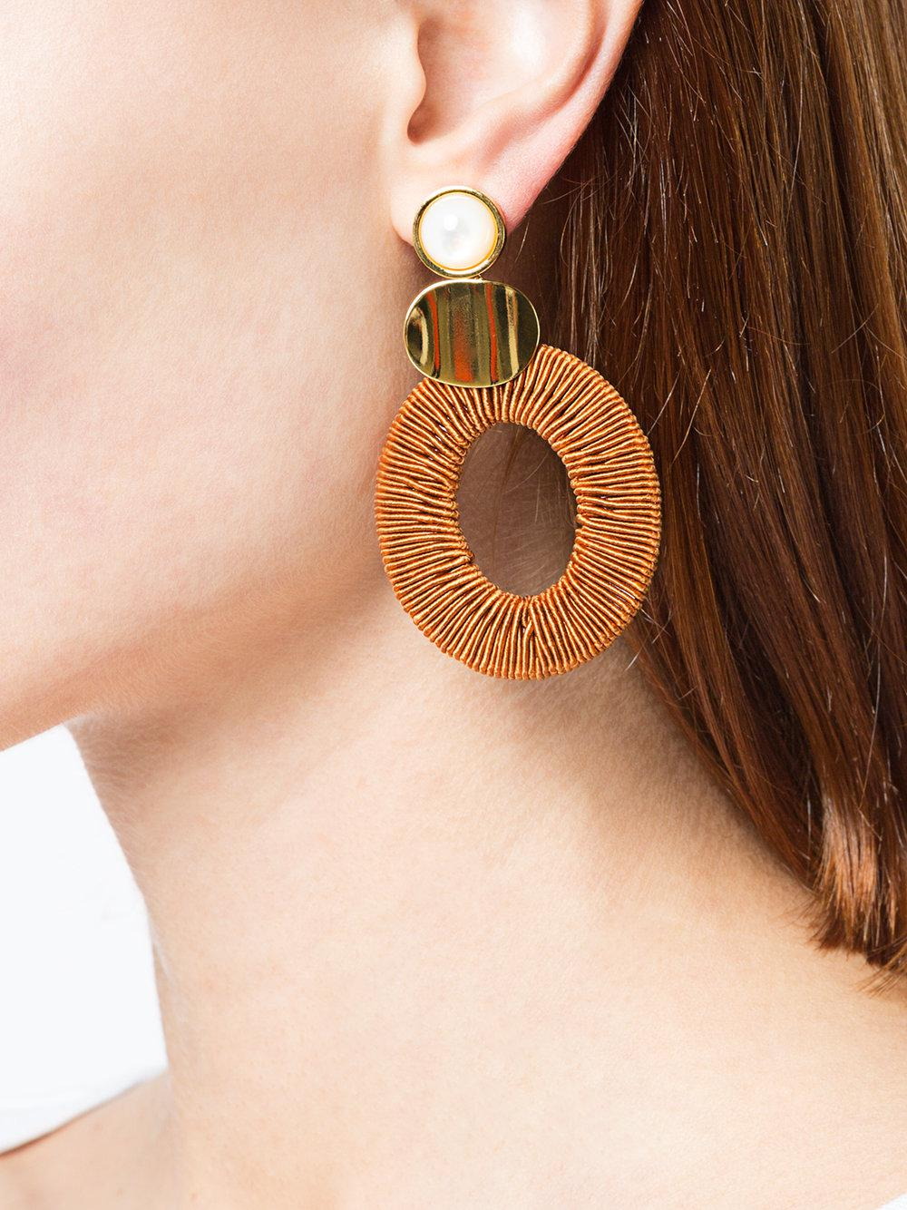 Lizzie Fortunato moon woven hoop earring - Yellow & Orange 50HMS4ic73