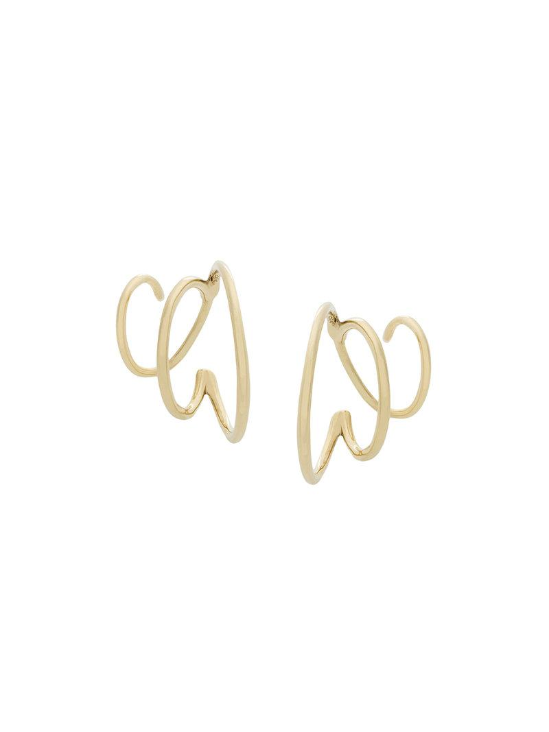 14kt yellow gold Mad Mouse twirl earring - Metallic Maria Black 40AuL0Zi