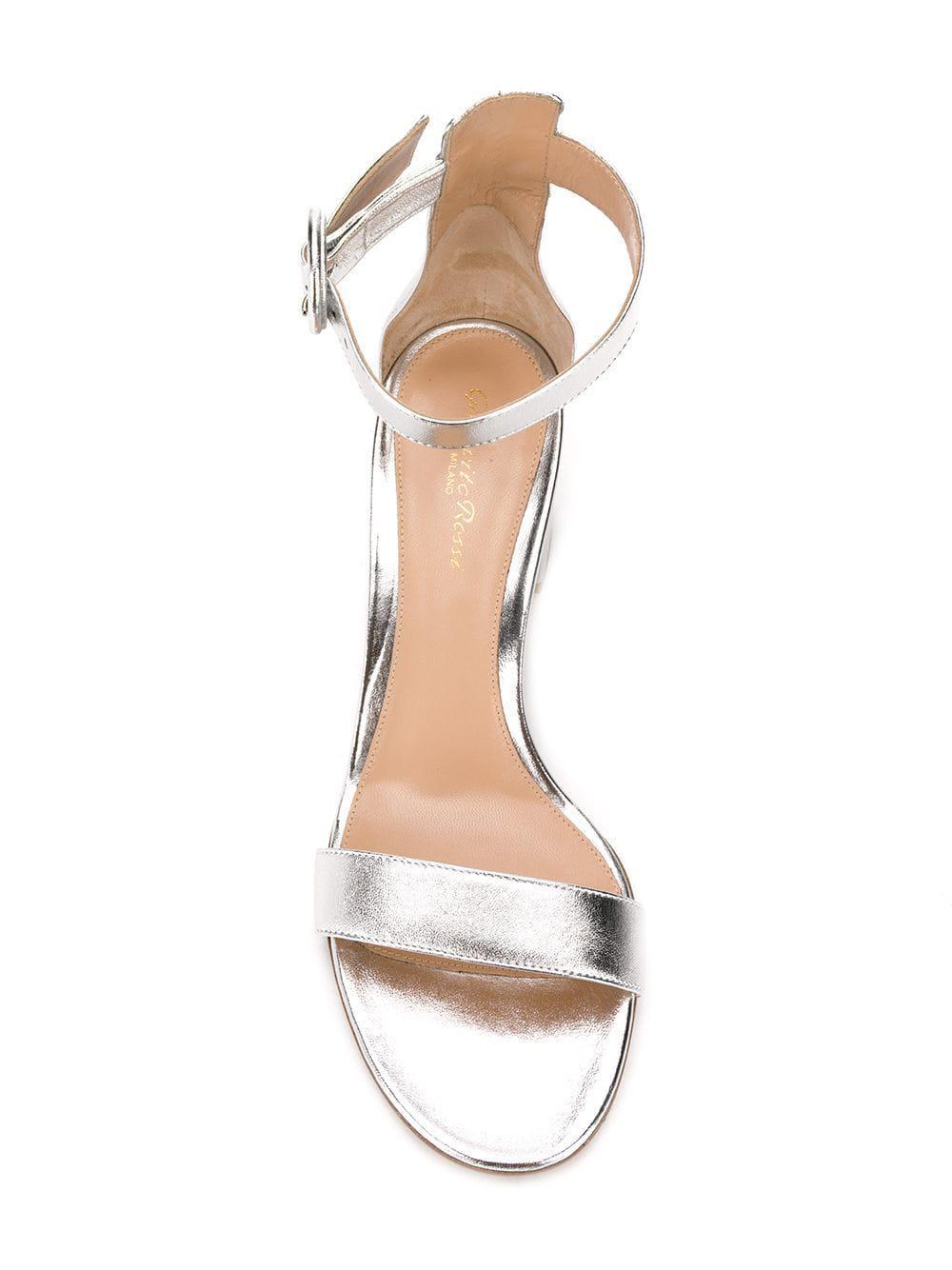 e14ee4b0ae59 Gianvito Rossi - Metallic Versilla 50 Silver Leather Sandals - Lyst. View  fullscreen