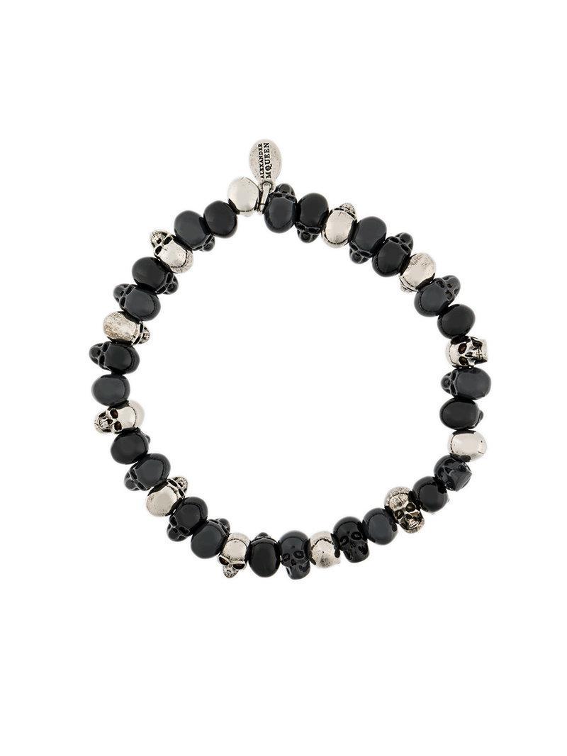 Lyst - Bracelet à perles tête de mort Alexander McQueen pour homme ... 2a335b82d2a