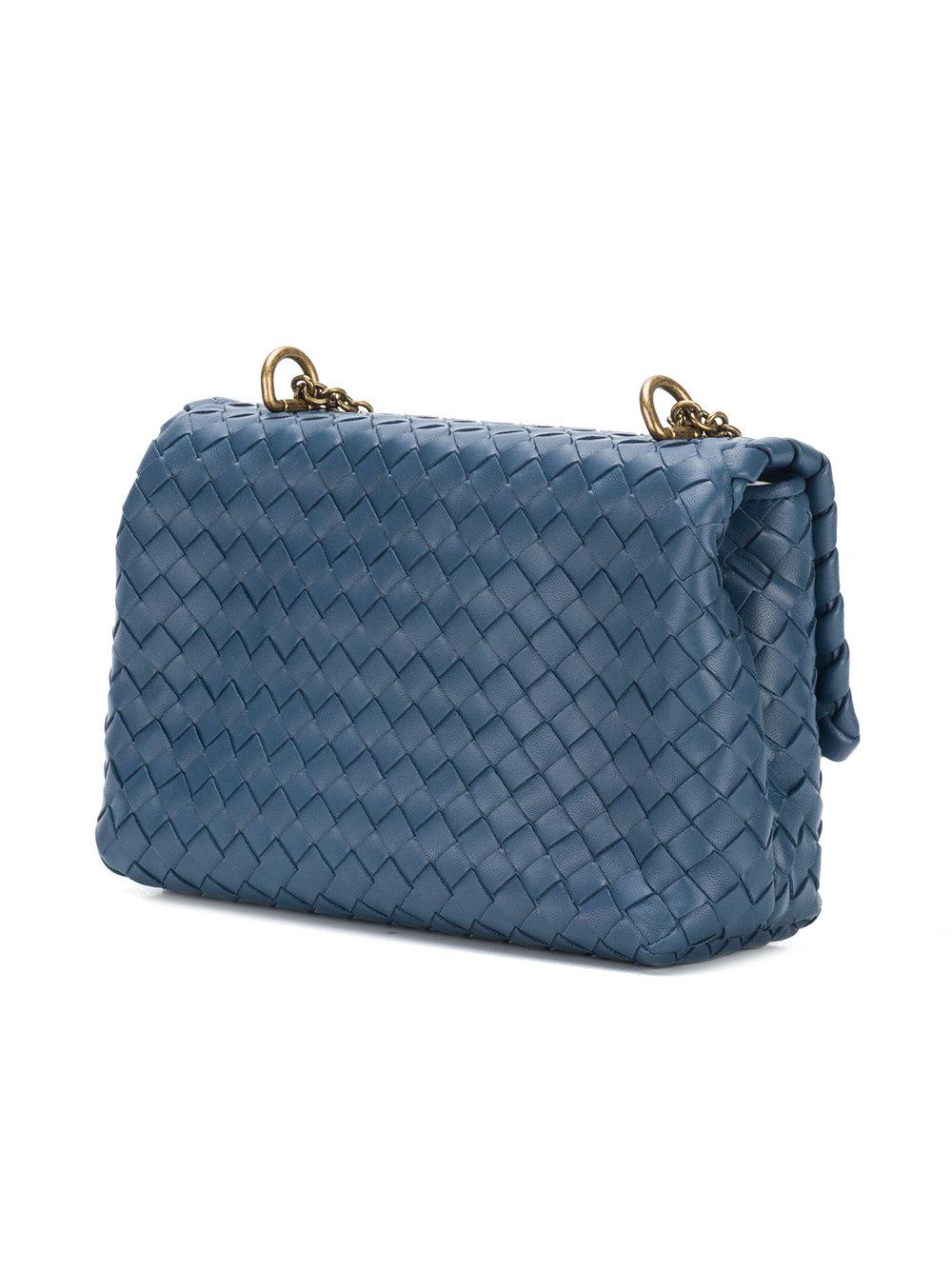 010b1fef47b9 Lyst - Bottega Veneta Olympia Intrecciato Crossbody Bag in Blue