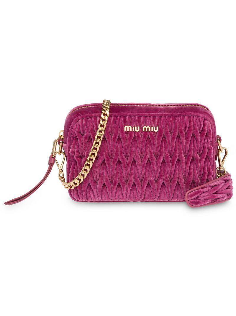 e37ffb2d54db Miu Miu - Pink Matelassé Velvet Shoulder Bag - Lyst. View fullscreen