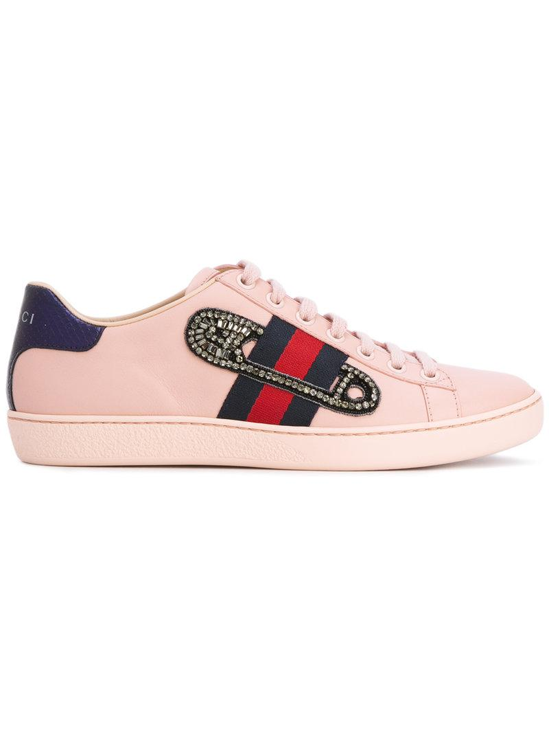 85bbc7dc38b Lyst - Gucci Ace Embroidered Low-top Sneakers in Pink