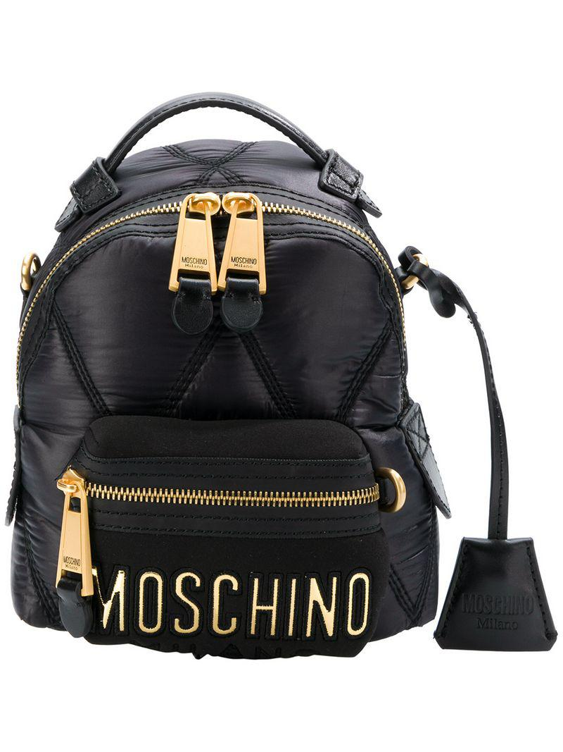 8d8a0e32c82 Moschino - Black Small Quilted Backpack - Lyst. View fullscreen