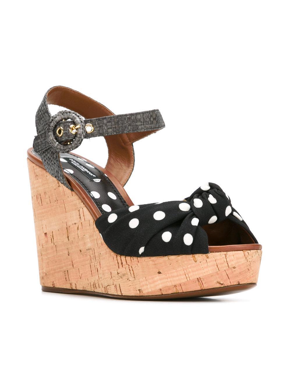 c57a468283d2 Dolce   Gabbana Polka-dot Wedge Sandals in Black - Save 60.66115702479339%  - Lyst