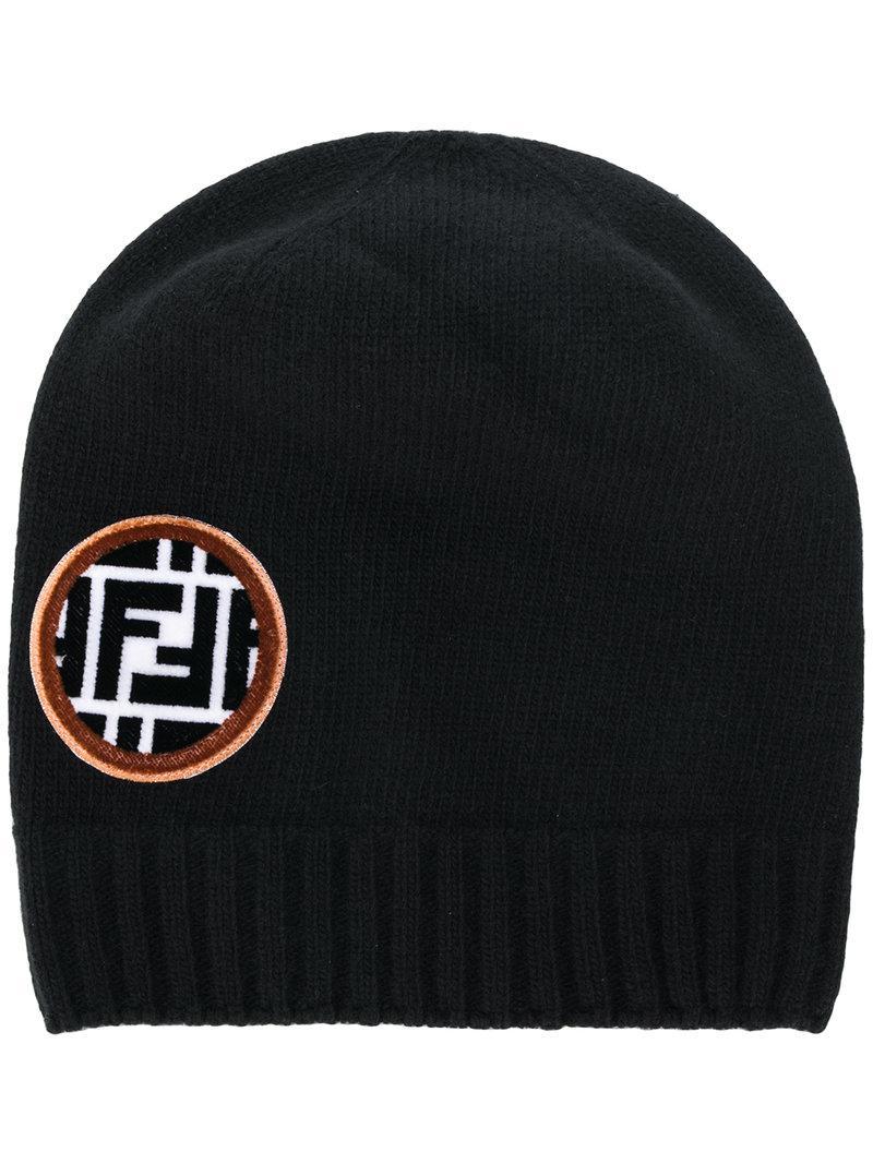 53e31f1f41e Lyst - Fendi Ff Logo Patch Beanie in Black