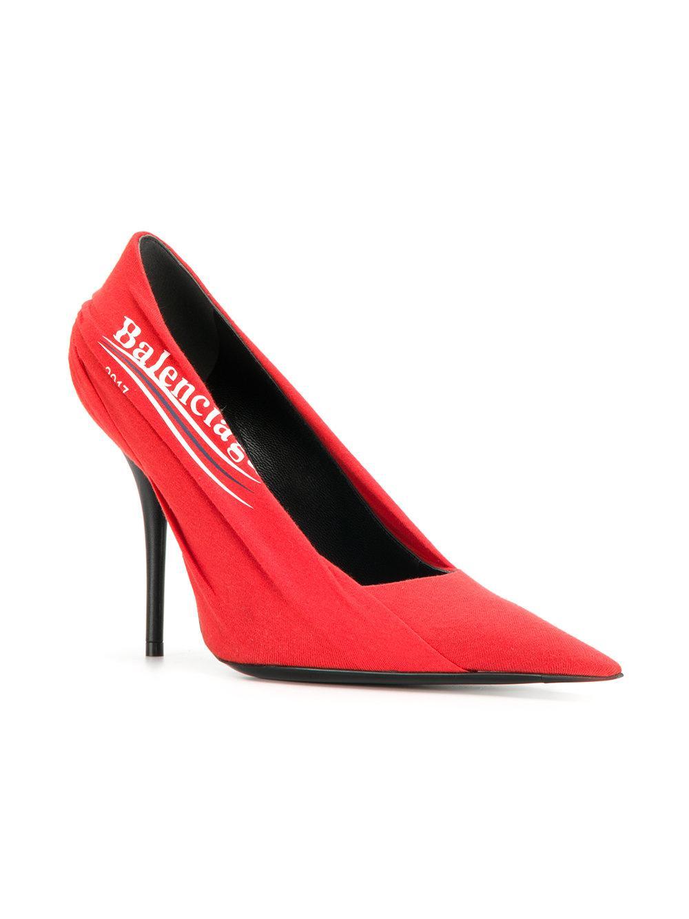 Miu Miu Red Campaign Logo Knife Heels