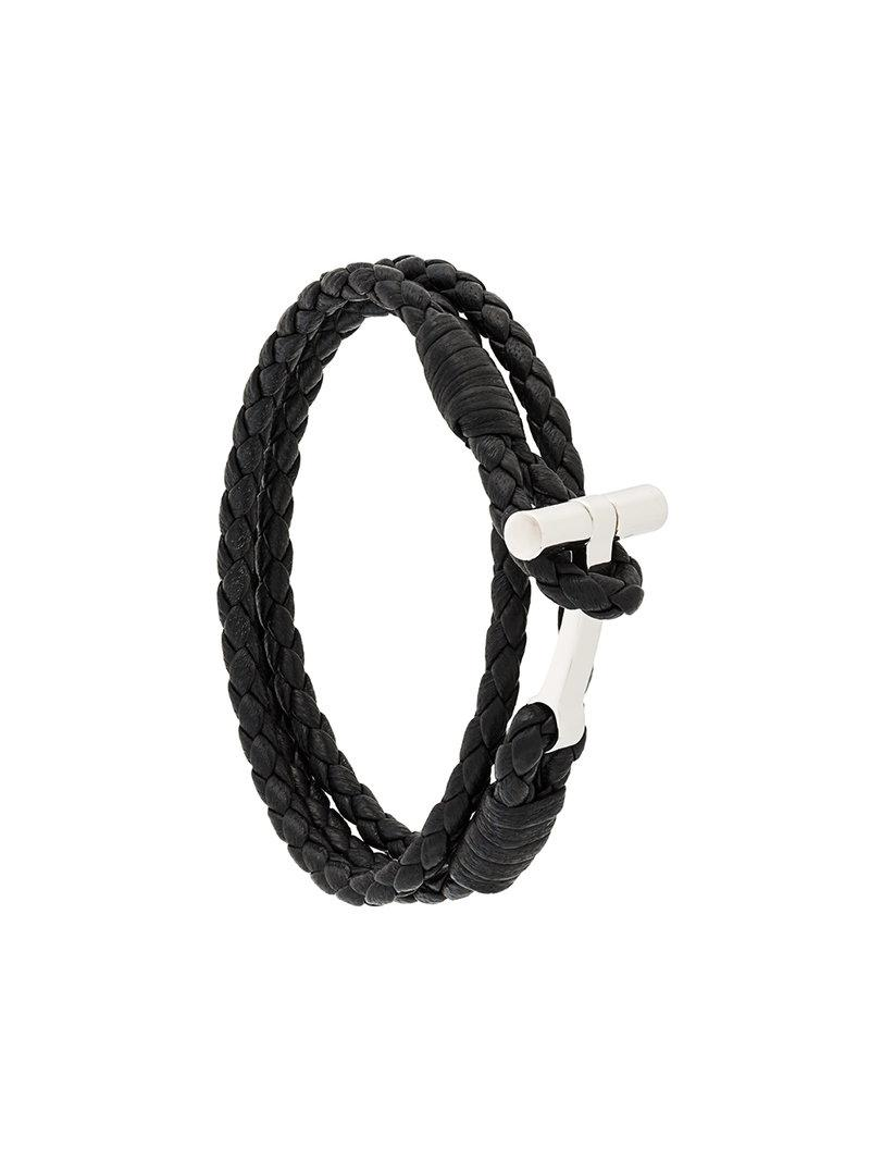 Lyst Tom Ford Woven Leather String Bracelet In Black For Men