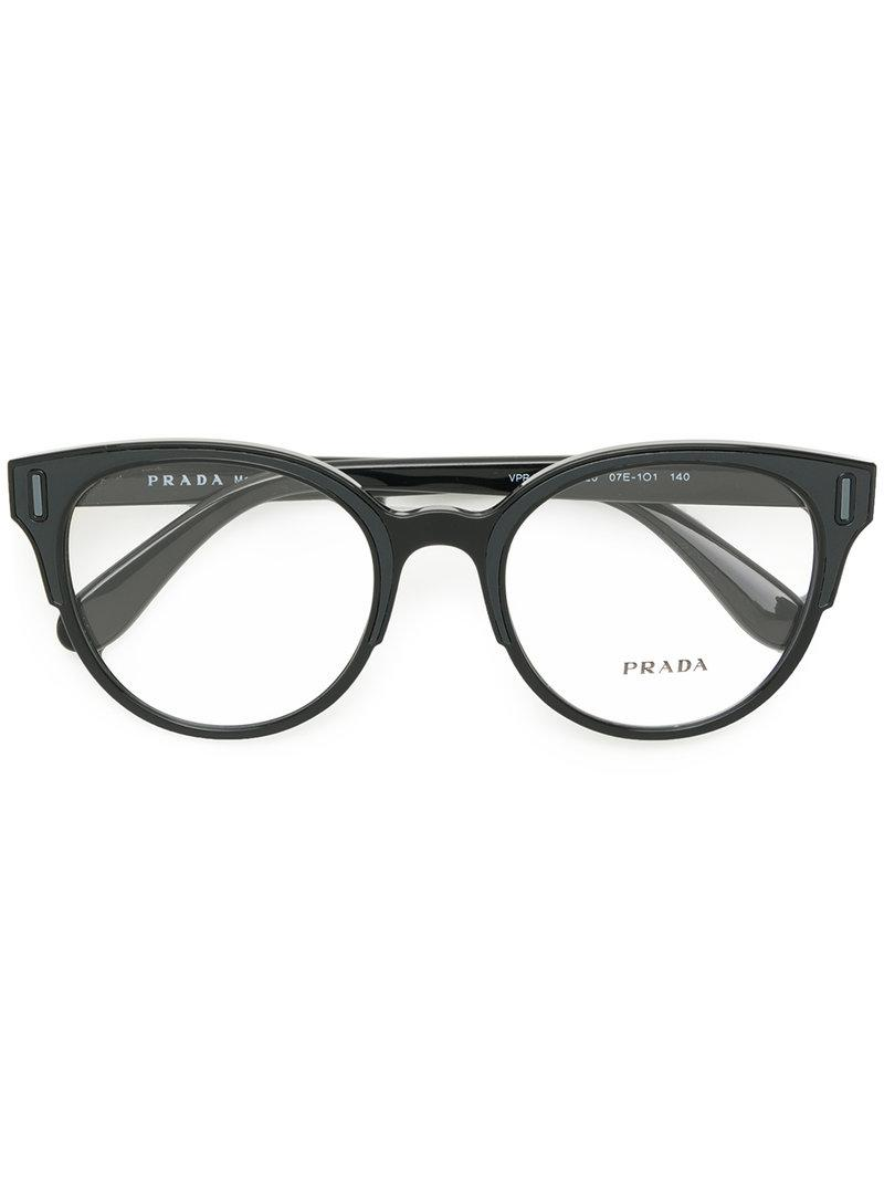 46eb1af16b52 Prada - Black Rounded Cat Eye Glasses - Lyst. View fullscreen